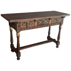 Early 19th Century Carved Walnut Wood Catalan Spanish Console Table