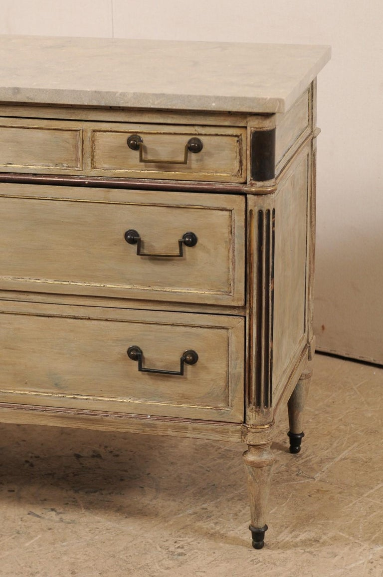 19th Century Early 19th C. French Neoclassical Commode with Fossilized Limestone Top For Sale