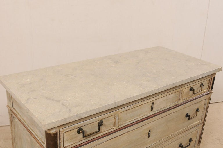 Wood Early 19th C. French Neoclassical Commode with Fossilized Limestone Top For Sale