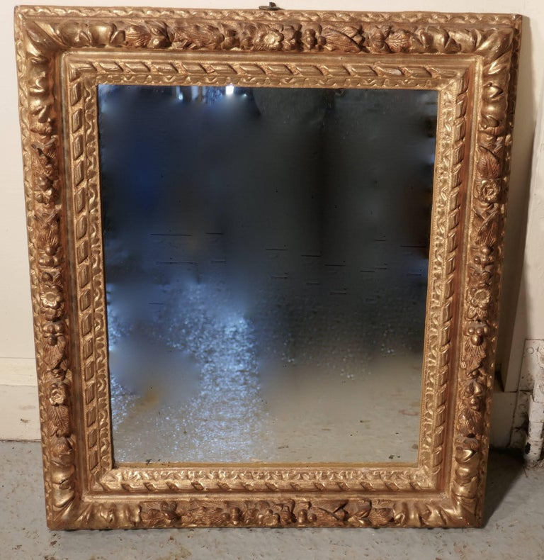 Early 19th Century Carved Wood Gilt Rococo Wall Mirror For Sale 3