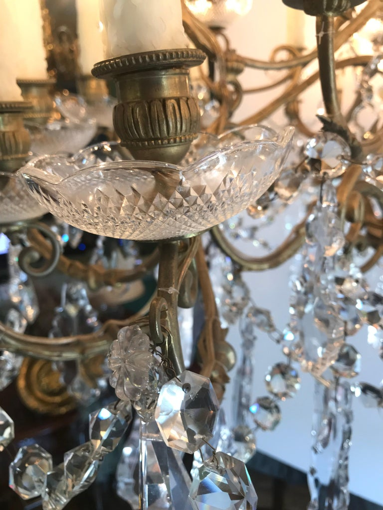 19th C. Charles X  32-Light Crystal Chandelier ceiling light pendant antique LA For Sale 1
