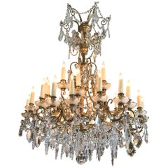 19th C. Charles X  32-Light Crystal Chandelier ceiling light pendant antique LA