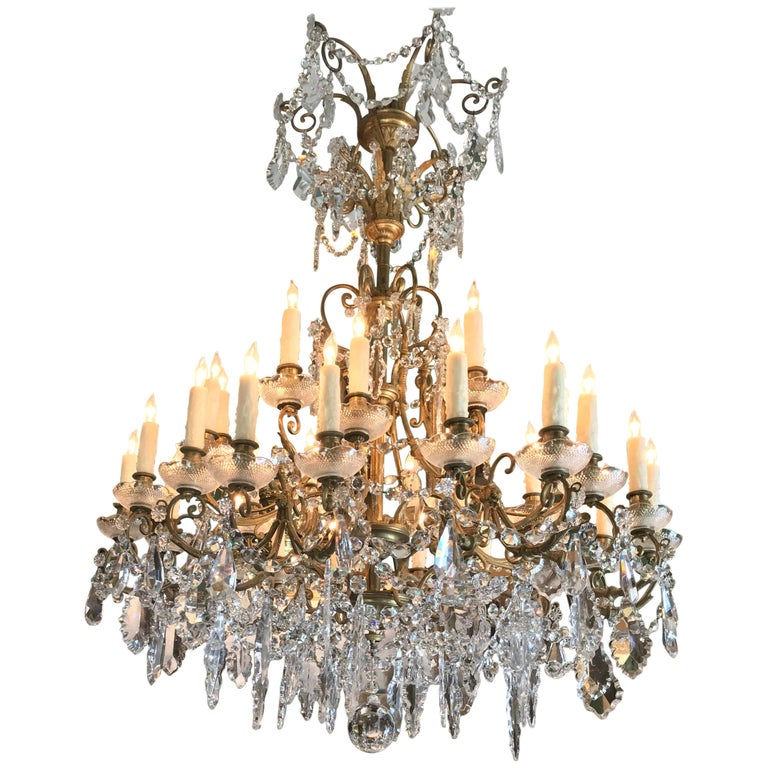 19th C. Charles X  32-Light Crystal Chandelier ceiling light pendant antique LA For Sale