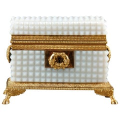 Early 19th Century Charles X White Opaline Jewelry Box