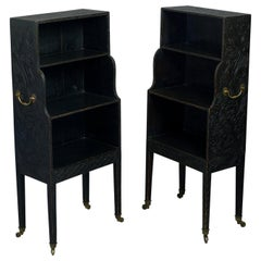 Early 19th Century Charming Pair of George III Painted Waterfall Bookcases