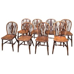 8 Windsor Wheelback Antique Dining Chairs