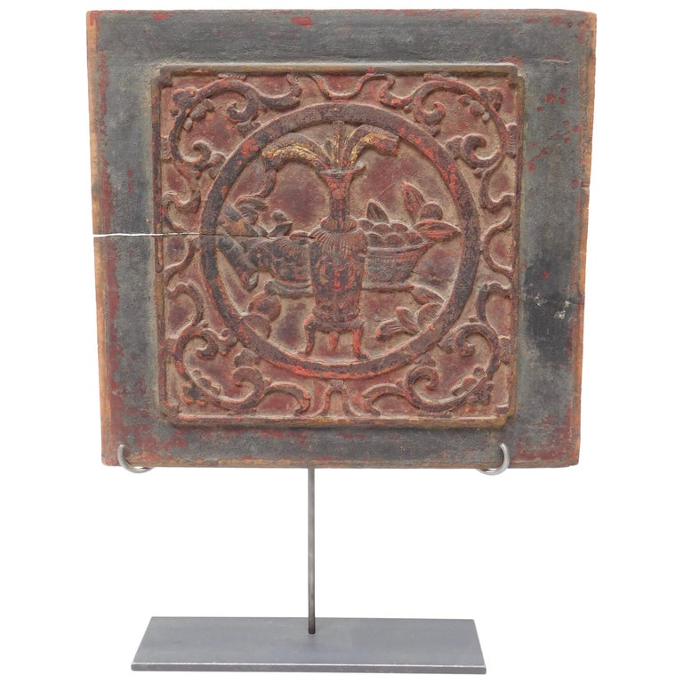 Early 19th Century Chinese Carved Panel on Stand For Sale