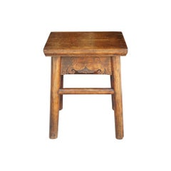 Early 19th Century Chinese Elm Stool or Low Table