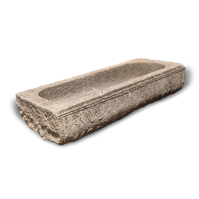 Hand-Carved Early 19th Century Chinese Etched Limestone Trough For Sale