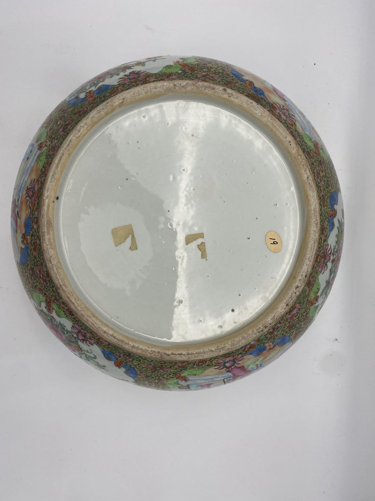 19th Century Chinese Famille Rose Porcelain Large Bowl For Sale 13