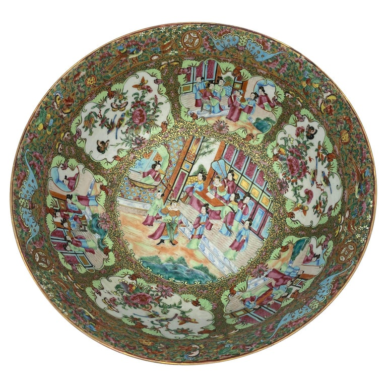 19th Century Chinese Famille Rose Porcelain Large Bowl For Sale