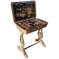 Early 19th Century Chinese Lacquer Work Table / Sewing Table