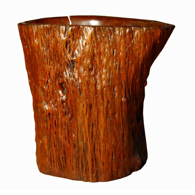 Wood brush and scroll pots carved to resemble tree trunks were popular during the Qing dynasty (1644–1911), and were among the many esteemed objects found in a scholar's studio. This early 19th-century pot made of hand-carved root wood has a rustic,