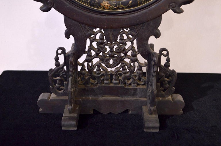 Ming Early 19th Century Chinese Table Screen Black Lacquered For Sale