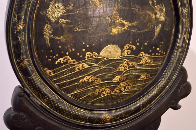 Early 19th Century Chinese Table Screen Black Lacquered In Excellent Condition For Sale In CILAVEGNA, IT