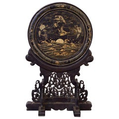 Early 19th Century Chinese Table Screen Black Lacquered