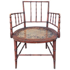 Early 19th Century circa 1810 Regency Period Red Painted Faux Bamboo Armchair