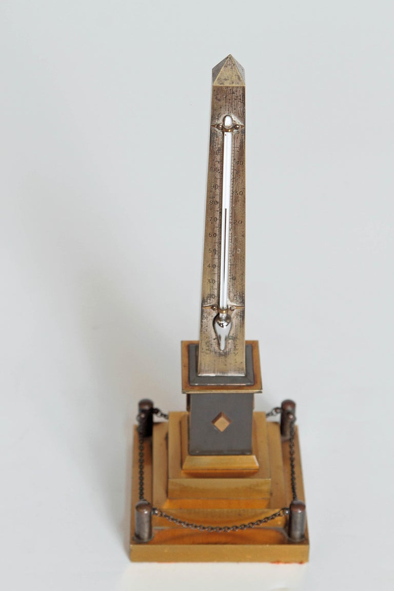 Neoclassical Early 19th Century Continental Grand Tour Obelisk Thermometer For Sale