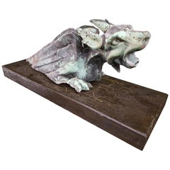 Early 19th Century Copper Gargoyle Rain Spout on Stand