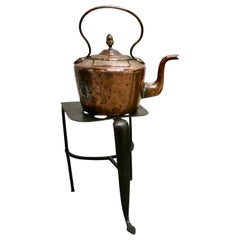 Early 19th Century Copper Kettle and Iron Trivet