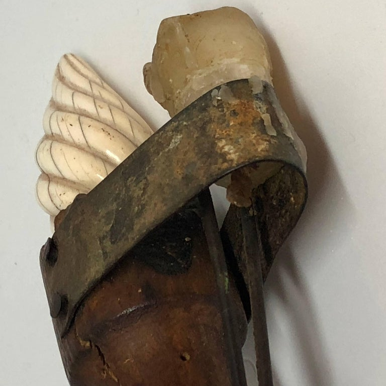 Early 19th Century Danish Folk Art Candlestick with Faux Flame of Antler For Sale 7