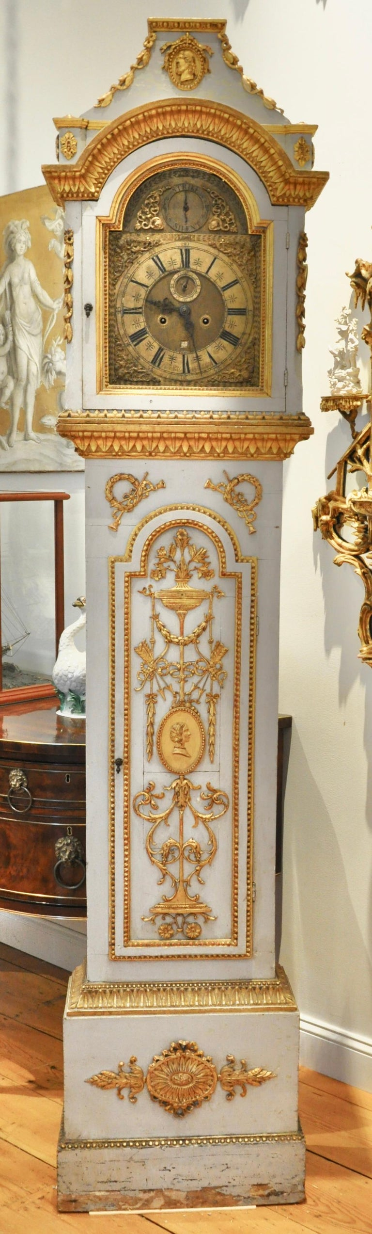 Carved Early 19th Century Danish Neoclassical Longcase Clock For Sale