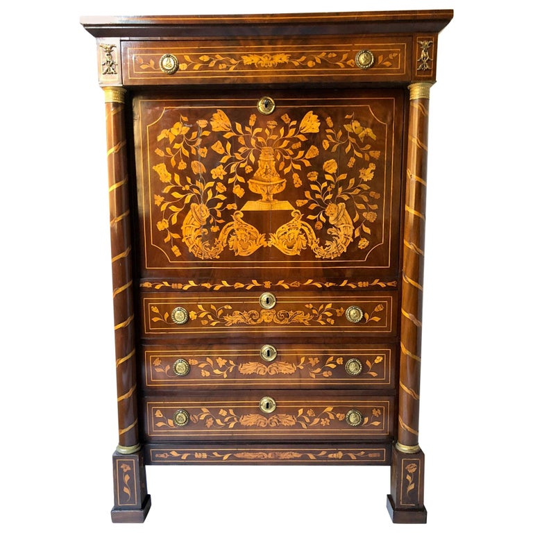Early 19th Century Dutch Mahogany and Satinwood Marquetry Secretaire a Abbattant For Sale