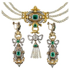 Early 19th Century Emerald Diamond Natural Pearl Necklace and Earrings