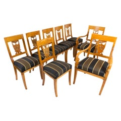 Early 19th Century, Empire Cherrywood Seating Group, 2 Armchairs and 6 Chairs