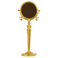 Early 19th Century Empire Female Bacchantes Caryatids Gilt Bronze Table Mirror