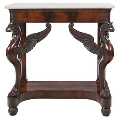 Early 19th Century Empire Flame Mahogany and Marble Console Table