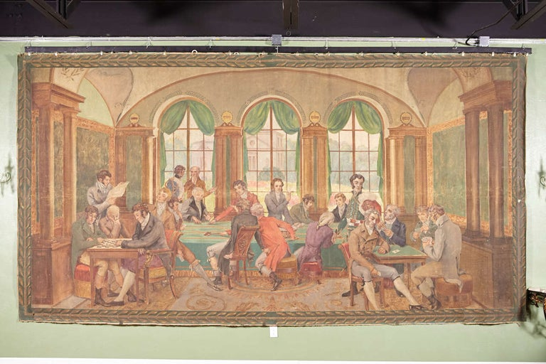 This monumental antique painted canvas