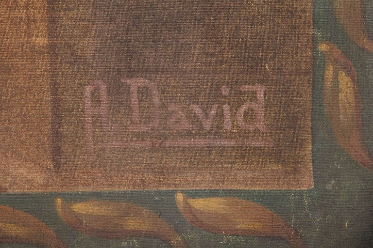 Early 19th Century Empire French Hand Painted Canvas Signed Louis A. David For Sale 4