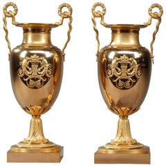 Early 19th Century Empire Gilt Bronze Centerpiece Vases