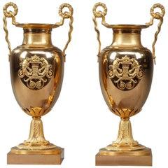 Frühes 19. Jahrhundert Empire Vergoldete Bronze Krater Tafelaufsatz Vasen