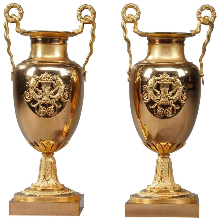 Early 19th Century Empire Gilt Bronze Krater Centerpiece Vases For Sale