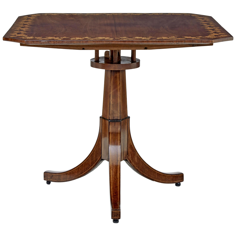 Early 19th Century Empire Inlaid Mahogany Tilt Top Table