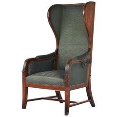 Early 19th Century Empire Mahogany Reclining Wing Back Armchair
