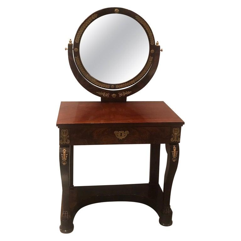 Early 19th Century Empire Mahogany Vanity with Ormolu Mounts For Sale
