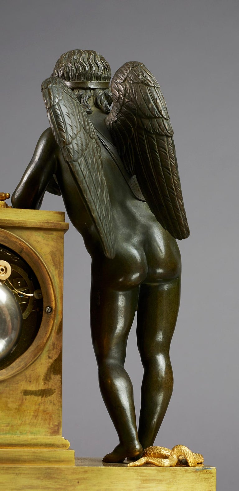 French Early 19th Century Empire Mantel Clock by Ledure with Apollo or Eros For Sale