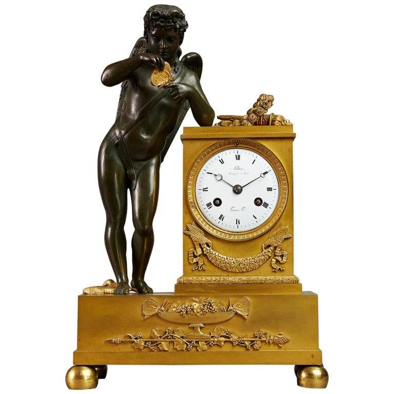 Early 19th Century Empire Mantel Clock by Ledure with Apollo or Eros For Sale