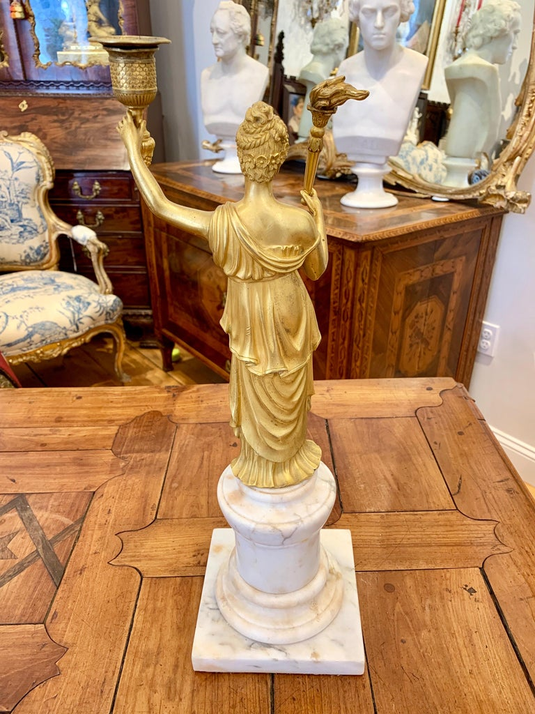 Early 19th Century Empire Ormolu and Marble Candleholder In Good Condition For Sale In Essex, MA
