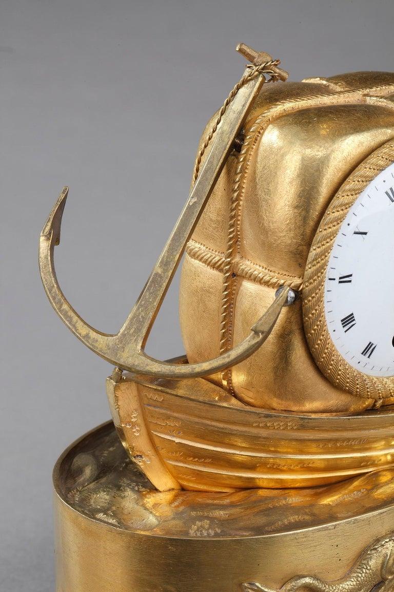 Early 19th Century Empire Ormolu Clock The Sailor For Sale 4