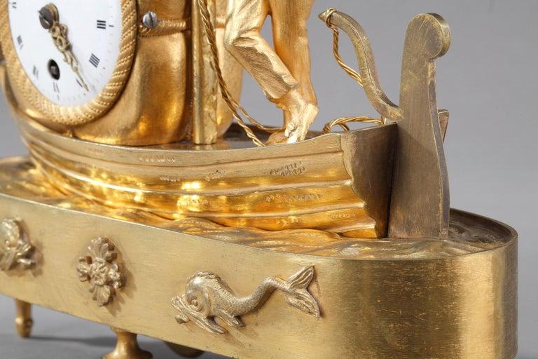 Early 19th Century Empire Ormolu Clock The Sailor For Sale 5