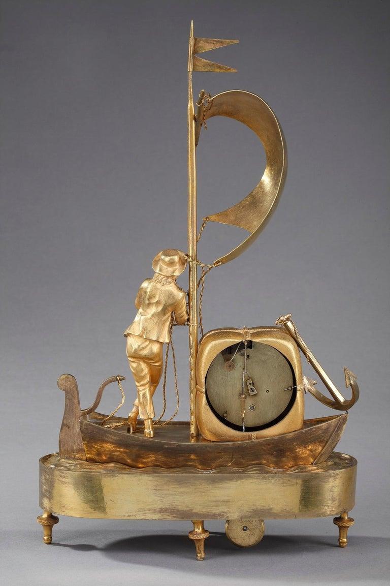 Early 19th Century Empire Ormolu Clock The Sailor For Sale 6