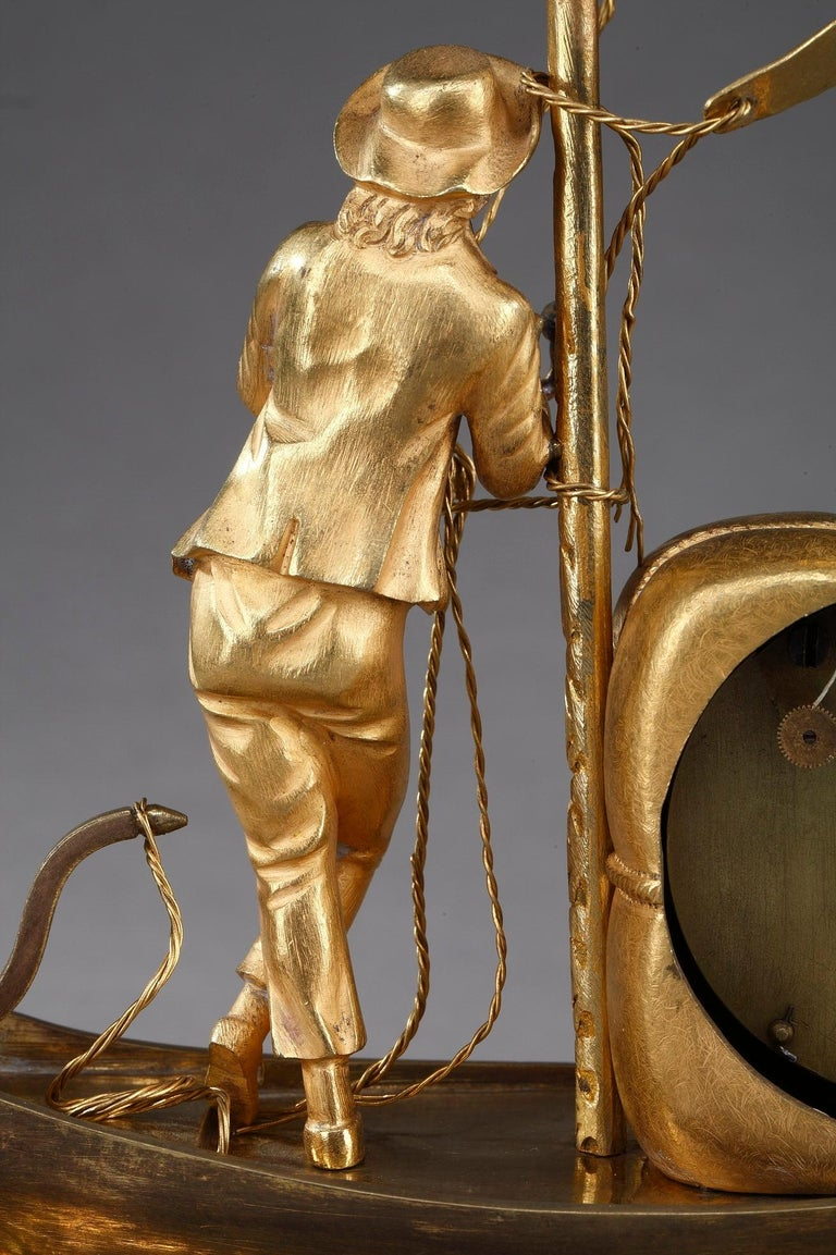 Early 19th Century Empire Ormolu Clock The Sailor For Sale 7