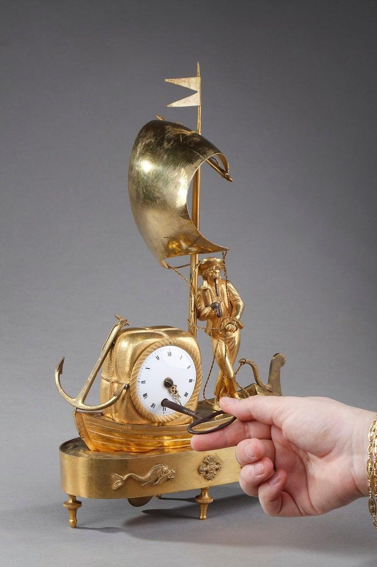 Early 19th Century Empire Ormolu Clock The Sailor For Sale 9