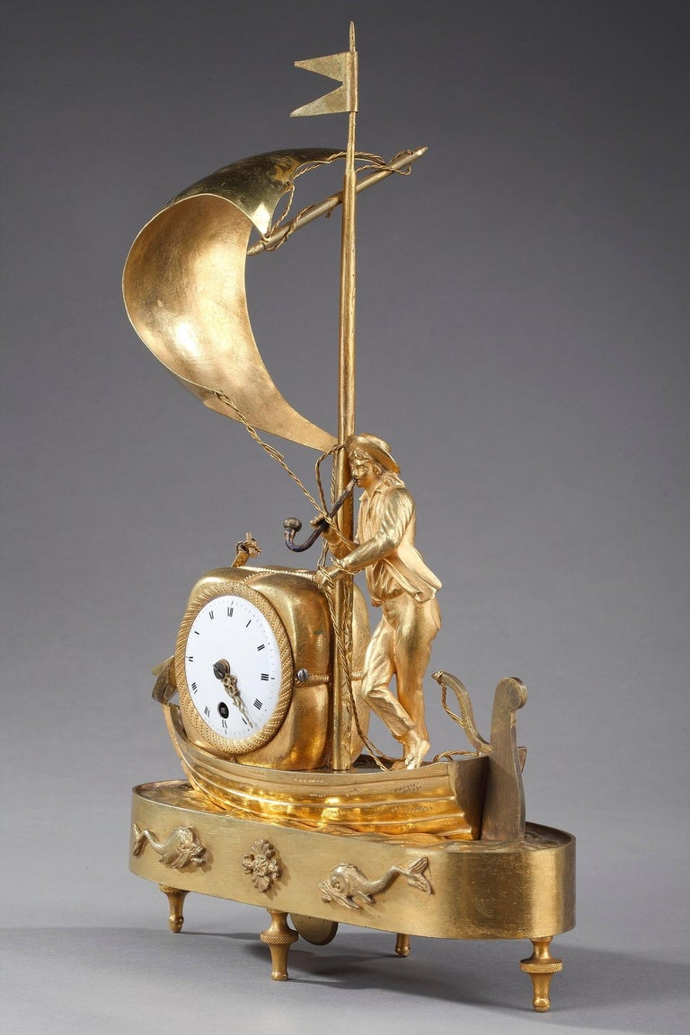 Early 19th Century Empire Ormolu Clock The Sailor For Sale 10