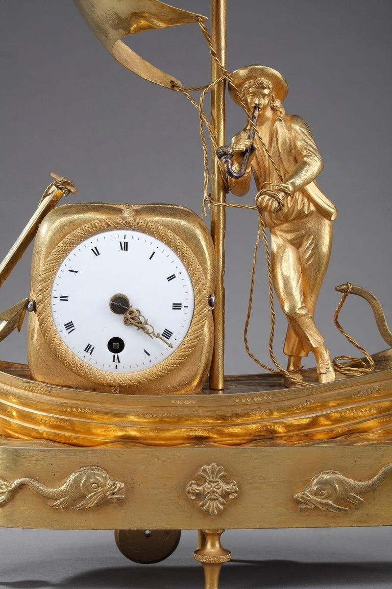 French Early 19th Century Empire Ormolu Clock The Sailor For Sale