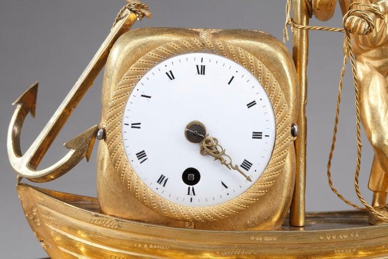 Gilt Early 19th Century Empire Ormolu Clock The Sailor For Sale